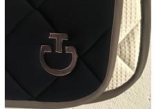 Cavalleria Toscana Jersey Quilted Rhombi Dressur Underlag, Navy m. Mud kant str. full