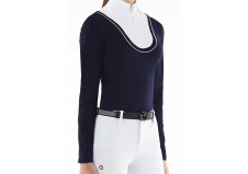 Cavalleria Toscana Retro Ski Jersey Fleece Turtleneck, Navy, Junior