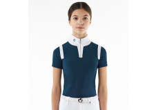 Cavalleria Toscana Jersey Insert Zip Polo, junior, petrolium