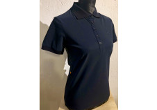 Cavalleria Toscana Perforated Jersey Polo w. Side Zip Pocket, navy