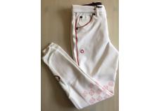 Cavalleria Toscana Racket Grip Ridebukser junior, hvid m. rød pipe