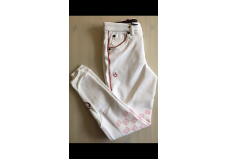 Cavalleria Toscana Racket Grip Breeches, Junior, Hvid m. rød pipe