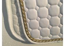 Equiline underlag, dressur, full, hvid m. guld pipes