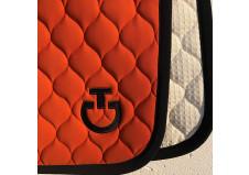 Cavalleria Toscana Cirkular Quilted Dressurunderlag, Orange/Sort str. Full