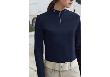Cavalleria Toscana Perforated Jersey Zip Træningspolo, Navy