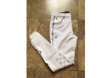Cavalleria Toscana Racket Grip Breeches, junior, hvid m. sort pipe